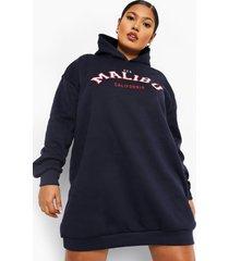 plus malibu sweatshirt jurk met capuchon, navy