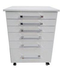 gaveteiro auxiliar odontológico com 6 gavetas branco - ds móveis
