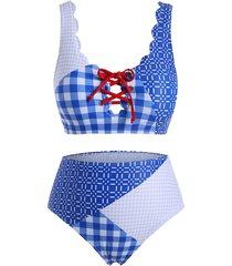 plaid panel lace up scalloped trim plus size bikini swimsuit
