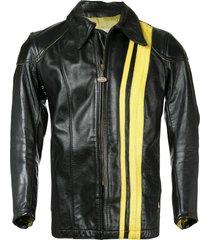 fake alpha vintage 1960s bates motorcycle racing jacket - black