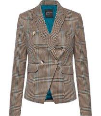 playful plaid blazer blazer kavaj brun marciano by guess