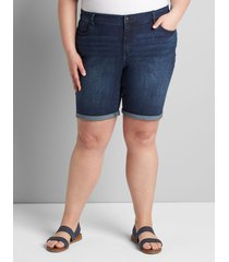 lane bryant women's lane essentials venezia denim bermuda short - dark wash with rolled hem 20 dark wash