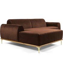 sofá 3 lugares com chaise base de madeira euro 230 cm veludo marrom - gran belo