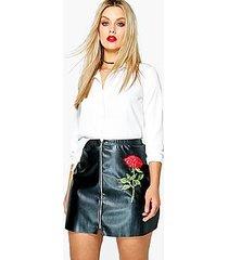 plus jessica pu embroidered mini skirt