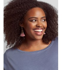 lane bryant women's boho beaded triangle tassel earrings onesz coral blush
