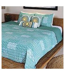 cotton bedspread and pillow shams, 'kantha charm in seaglass' (3 piece) (india)
