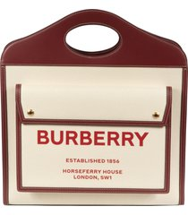burberry front pocket detail logo print tote