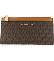 michael michael kors all-over logo wallet - brown