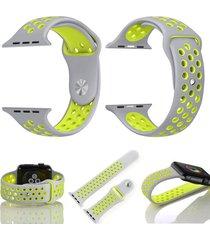 pulso para apple watch 38 mm correa en silicona watchband - gris con verde