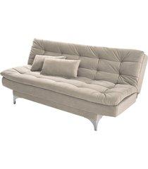 sofá cama 3 lugares pratic império estofados areia