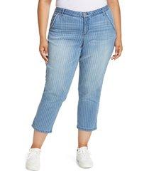 plus size women's wit & wisdom ab-solution stripe frayed ankle straight leg jeans, size 20w - blue (plus size) (nordstrom exclusive)