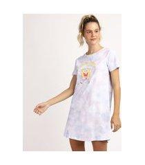camisola feminina bob esponja estampada tie dye manga curta lilás