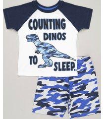 """pijama infantil dinossauro """"counting dinos to sleep"""" manga curta gola careca off white"""