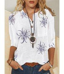 camicetta a maniche lunghe con bottoni a colletto con stampa floreale vintage
