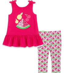 kids headquarters little girls 2-piece tie-strap tunic top and printed capri leggings set