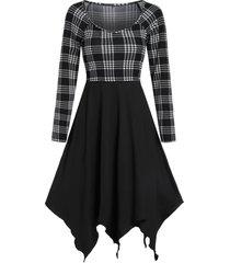 plaid asymmetrical handkerchief raglan sleeve dress