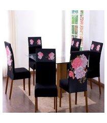 kit 6 capas para cadeira jantar malha elástico paris est.3