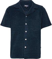 bowling terry navy overhemd met korte mouwen blauw nikben