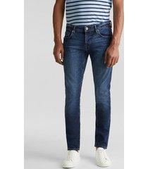 jeans slim con efecto deslavado azul oscuro esprit