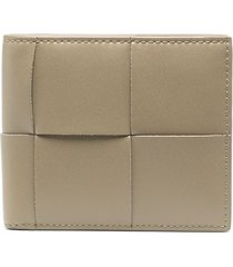 bottega veneta intrecciato leather card holder - neutrals