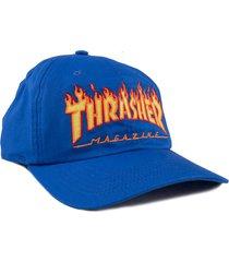boné thrasher magazine flame logo dad hat azul