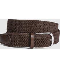 reiss elmont - woven belt in mid brown, mens, size 36