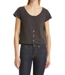 women's ba & sh verity button front t-shirt, size medium - grey