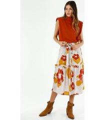 falda medio para mujer topmark, faldas plano  estampado