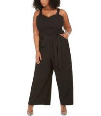 emerald sundae trendy plus size sleeveless belted wide-leg jumpsuit
