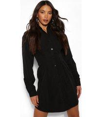 tall geweven blouse jurk met plooien en knopen, zwart