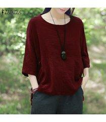 zanzea crew collar de tres cuartos de la manga blusas mujer otoño púrpura ocio irregular rayas algodón largas con estilo top de la blusa vino tinto -rojo