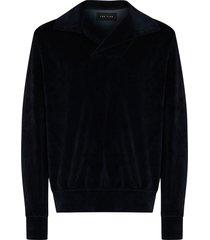 les tien velvet-effect camp-collar sweatshirt - blue