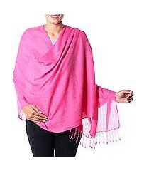 wool blend shawl, 'pink diamond fantasy' (india)