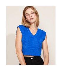 colete de tricô feminino mindset cropped decote v azul royal