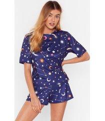 womens constellation star print short pajama set - navy
