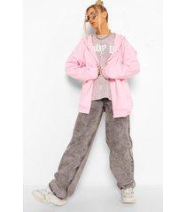 basic oversized hoodie met rits, pale pink