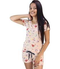pijama feminino divertido salmão