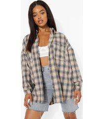 geborstelde geruite oversized blouse, grey