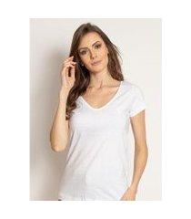 camiseta aleatory feminina gola v básica