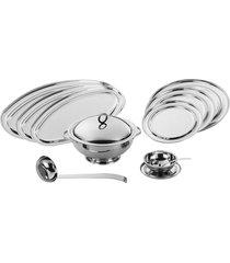 baixela valenza inox revestido em prata 10 peças riva