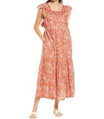 free people bonita floral print dress, size medium in neutral combo at nordstrom