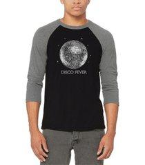 men's disco ball raglan baseball word art t-shirt