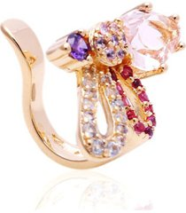 brinco piercing libélula cristais coloridos banhado a ouro 18k