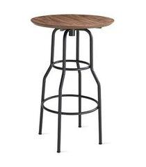 mesa bistro pecorino com tampo mdf tabaco base aco preta 68 cm (diam) - 55742 preto