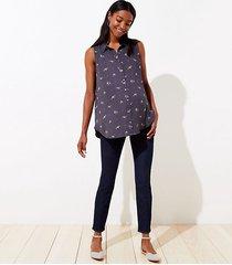 loft maternity let down hem slim pocket skinny jeans in rich dark indigo