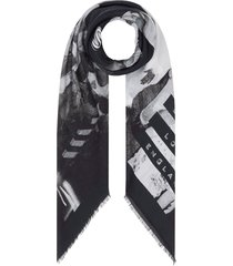 burberry rave print cotton silk large square scarf - black