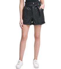 calvin klein jeans faux-leather paperbag shorts