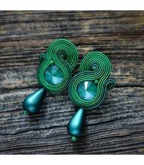 zielone kolczyki soutache