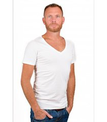 rj bodywear men deep v-neck t-shirt white.