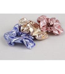 kit de 3 elásticos de cabelo carnaval scrunchie metalizados multicor